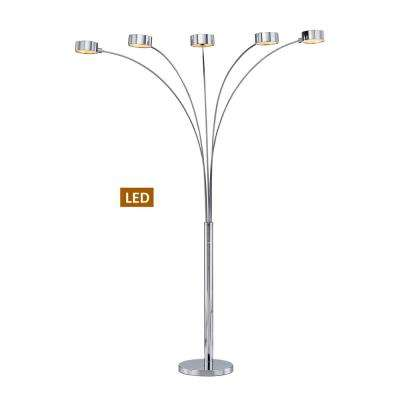"Micah Plus 88"" Chrome LED Arched Floor Lamp with Dimmer"