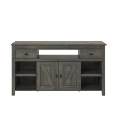 Farmington 60 in. Weathered Oak Wood TV Stand with 2 Drawer Fits TVs Up to 60 in. with Storage Doors