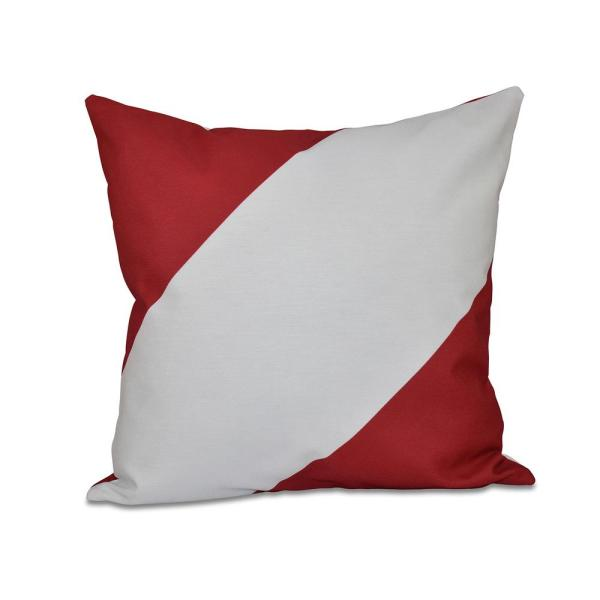 undefined Bold Red Striped 16 in. x 16 in. Throw Pillow