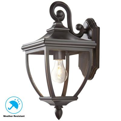 1-Light Oil-Rubbed Bronze Outdoor 8 in. Wall Lantern Sconce with Clear Glass