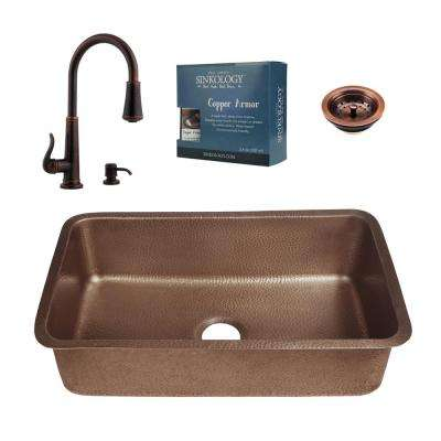 Pfister All-in-One Orwell Copper Undermount 30 in. Kitchen Sink Kit with Ashfield Pull Down Faucet in Rustic Bronze