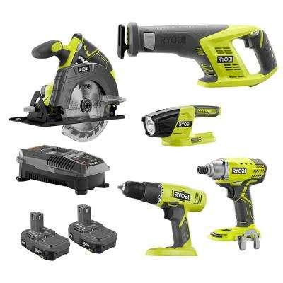 18-Volt ONE+ Li-Ion 5-Tool Combo Kit with Drill, Circ Saw, Recip Saw, Impact Driver, Light, (2)1.5Ah Batteries, Charger