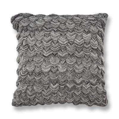 Black and White Knit 20 in. x 20 in. Decorative Pillow