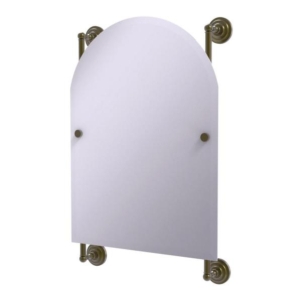 Prestige Que New Collection Arched Top Frameless Rail Mounted Mirror in Antique Brass