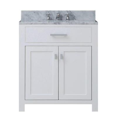 30 in. W x 21 in. D Vanity in White with Marble Vanity Top in Carrara White and Chrome Faucet