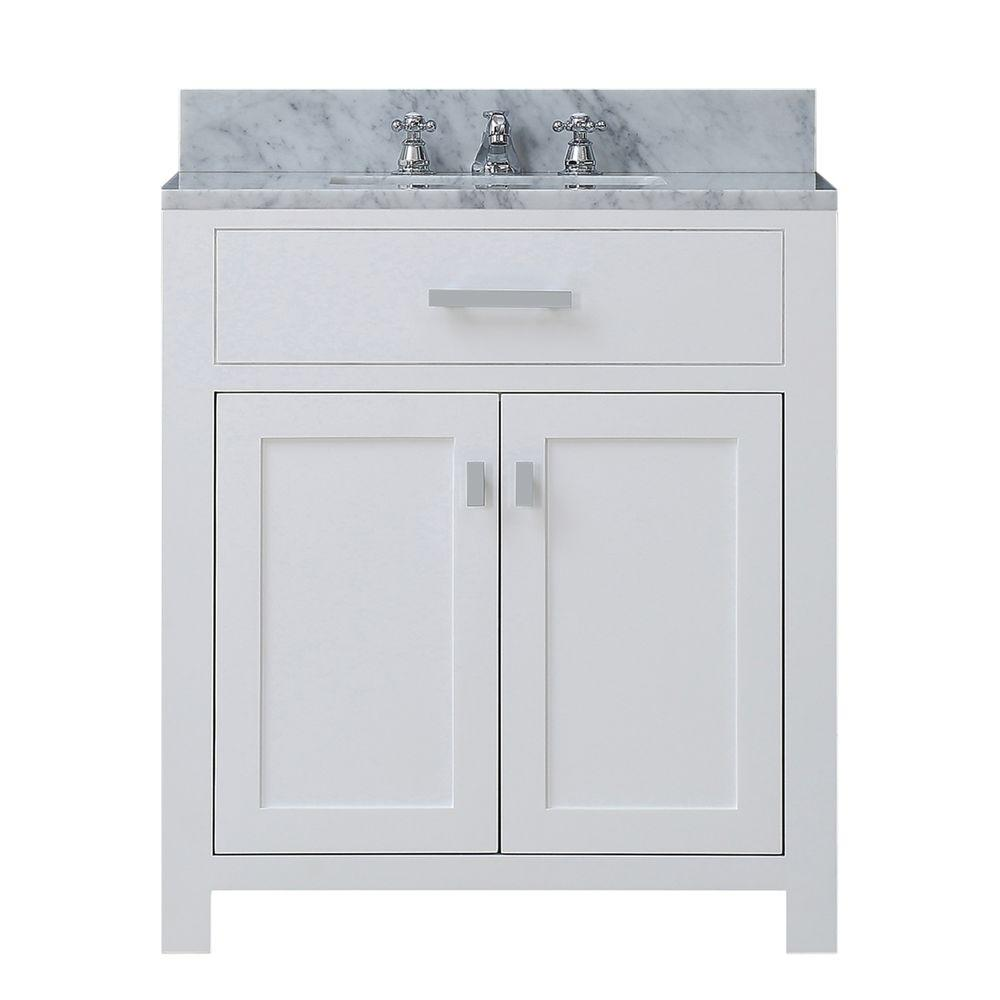 Water Creation 30 in. W x 21 in. D Vanity in White with Marble ...