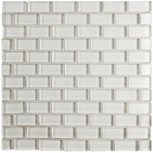 Tessera Subway Ice White 11-3/4 in. x 11-3/4 in. x 8 mm Glass Mosaic Tile