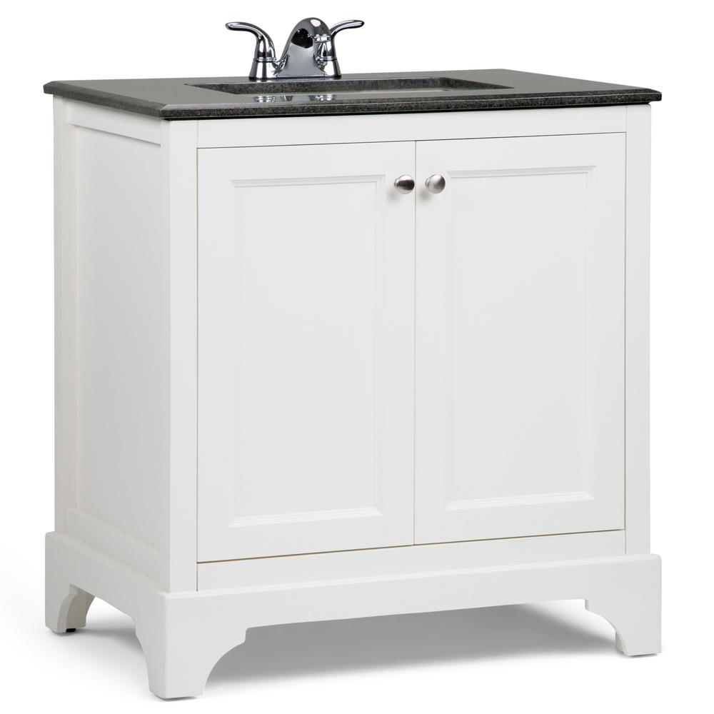 Simpli Home Cambridge 30 In W Vanity White With Granite Top Black
