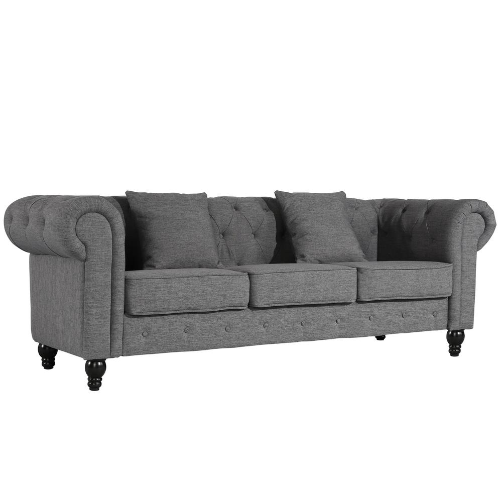 Poly And Bark Hendrick Chesterfield Sofa In Gray