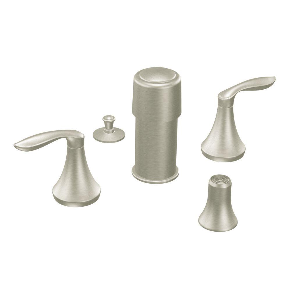 MOEN Eva 2-Handle Bidet Faucet Trim Kit in Brushed Nickel (Valve not included)