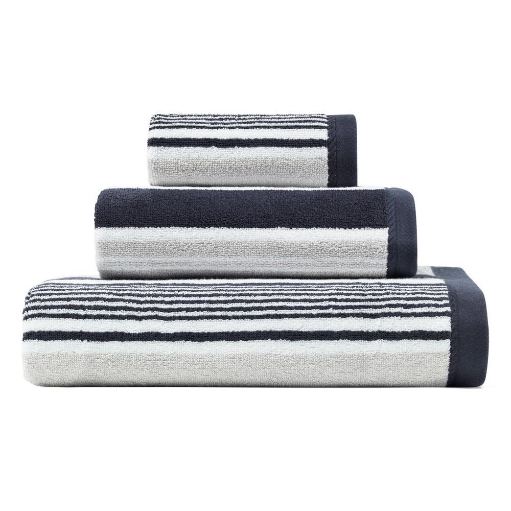 Agonda Stripe Navy 3-Piece Terry Cotton Bath Towel Set