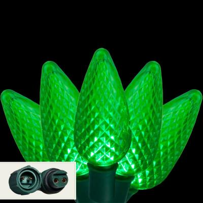 24 ft. 25-Light LED Green Commercial C9 String Lights with Watertight Coaxial Connectors