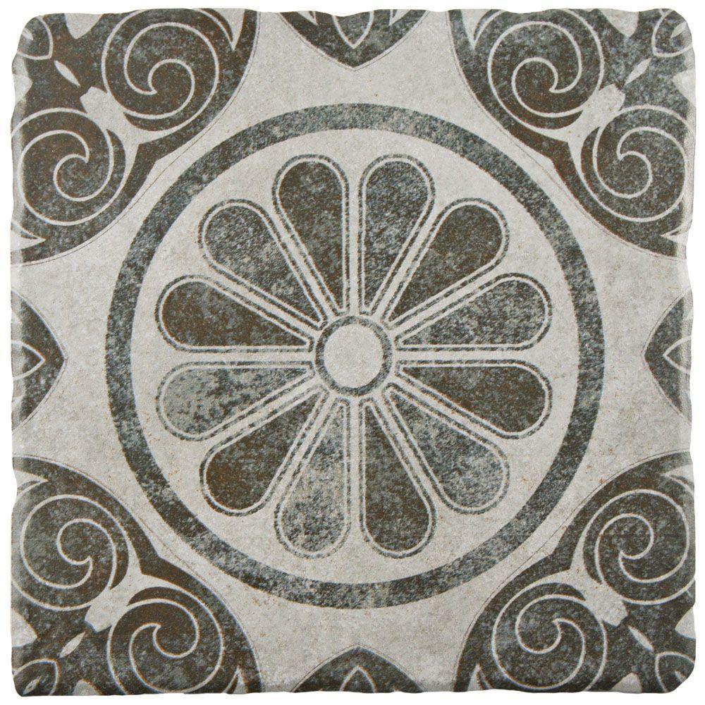 Costa Cendra Decor Daisy Encaustic 7-3/4 in. x 7-3/4 in. Ceramic