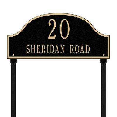Admiral Standard Arch Black/Gold Lawn Two Line Address Plaque