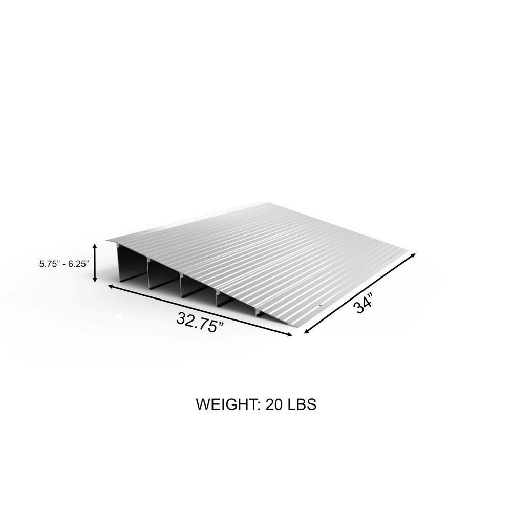 Silver 24L x 27W Aluminum Curb Ramp