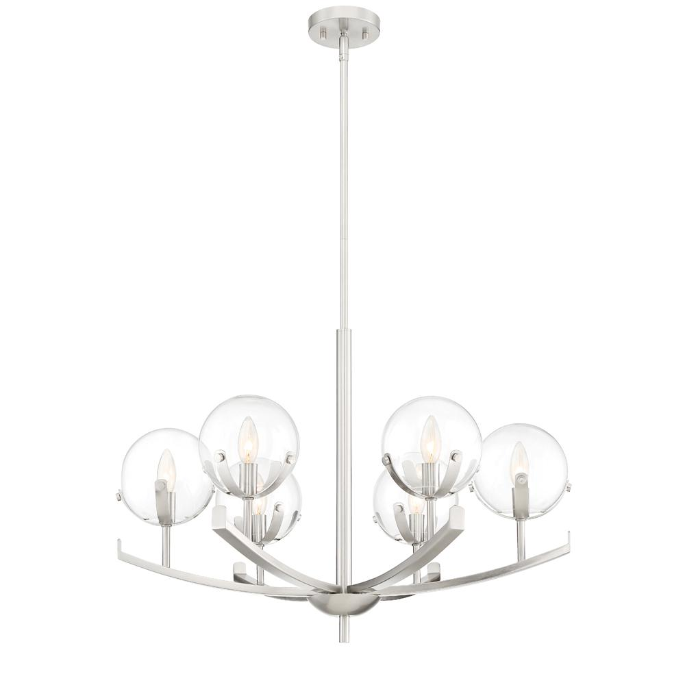 Designers Fountain Spyglass 6-Light Satin Platinum Interior Chandelier with Clear Glass Shade