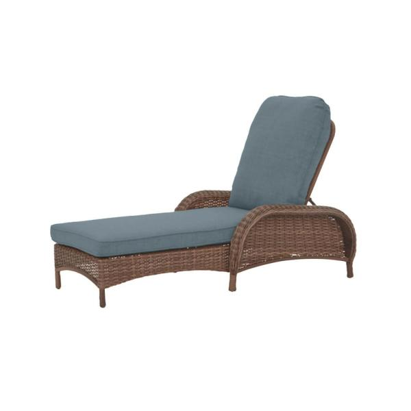 Beacon Park Brown Wicker Outdoor Patio Chaise Lounge with Sunbrella Denim Blue Cushions