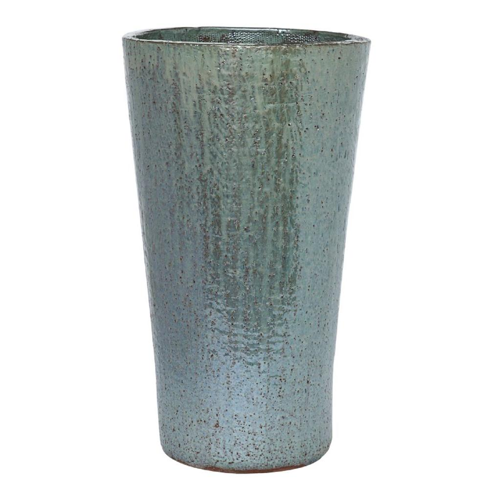25 in. Silver Grey Stoneware Tall Antiqued Vasum Pot