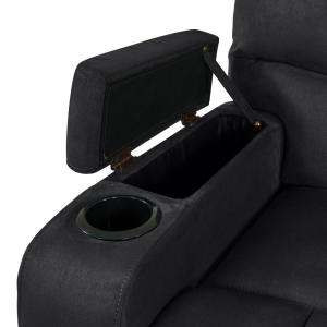 Pleasant Prolounger 3 Seat Black Microfiber Wall Hugger Storage Pdpeps Interior Chair Design Pdpepsorg
