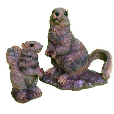 10 in. Squirrel and Baby Squirrel 6 in. Statue Combo Family Set