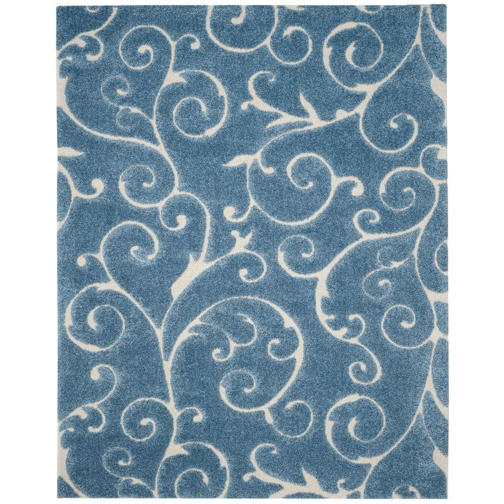 Safavieh Florida Shag Light Blue/Cream 8 Ft. X 10 Ft. Area Rug