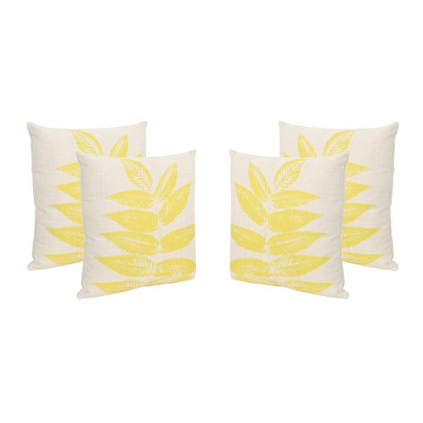 Pinnate Leaves Beige and Yellow Square Outdoor Throw Pillows (Set of 4)