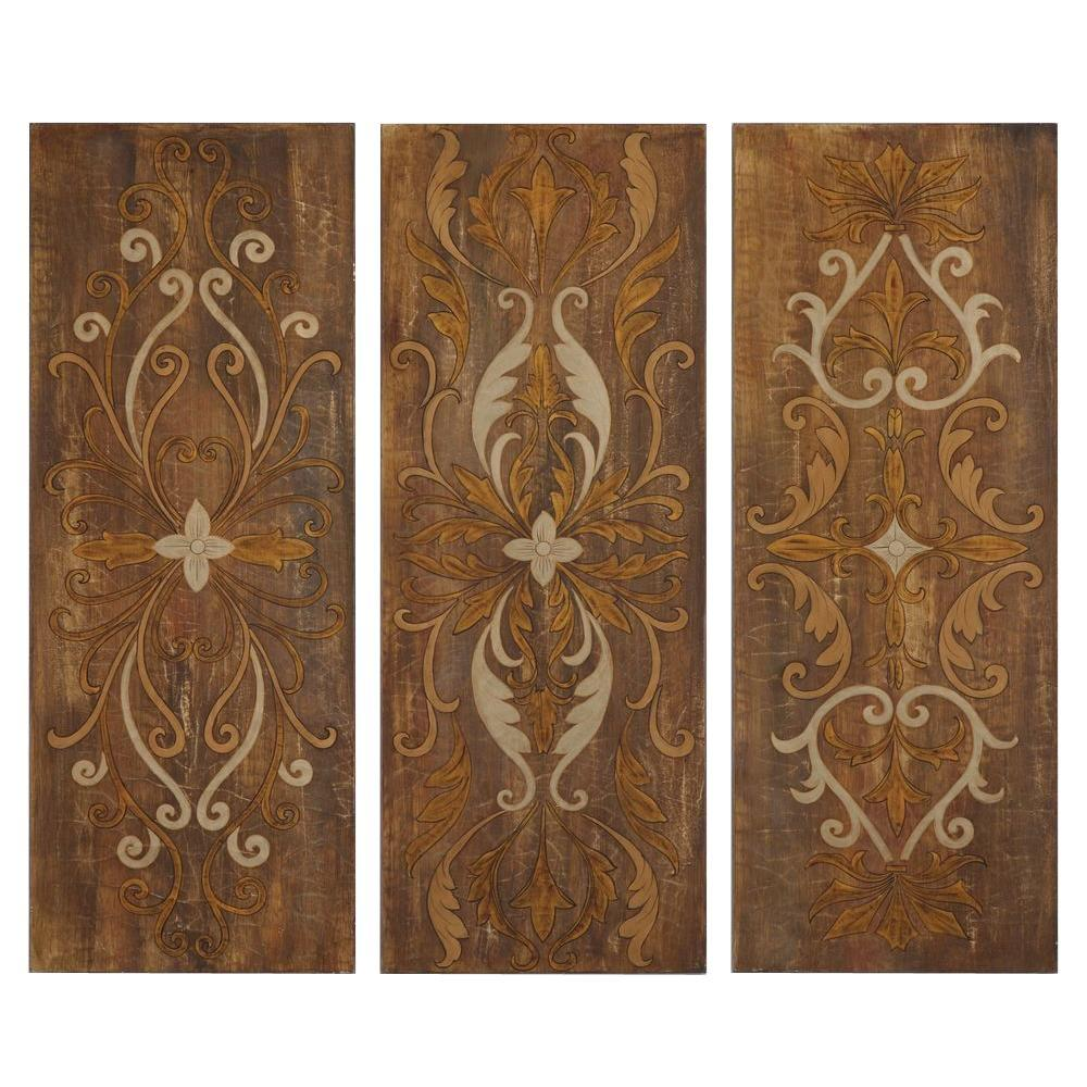 """Home Decorators Collection 40 in. x 15 in. """"Wakefield"""" Hand Painted Wall Art Panels (Set of 3)"""