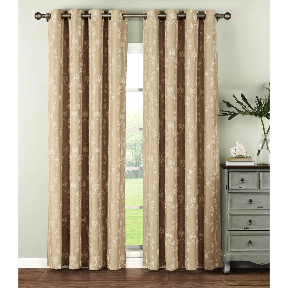 ebay ivory pair grommets maritza itm of curtain w window curtains ivoryblack panel jacquard panels