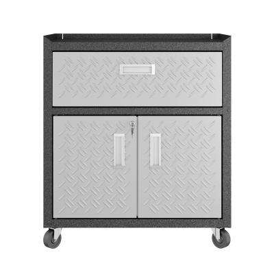 31.5 in. H x 30.3 in. W x 18.2 in. D Freestanding Cabinet with 1 Full Extension Drawer and 2 Adjustable Shelves in Gray