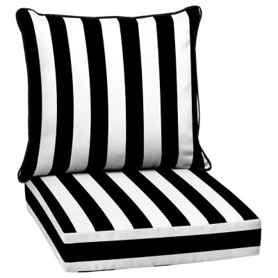 24 in. x 22.5 in. Black Cabana Stripe 2-Piece Deep Seating Outdoor Lounge Chair Cushion