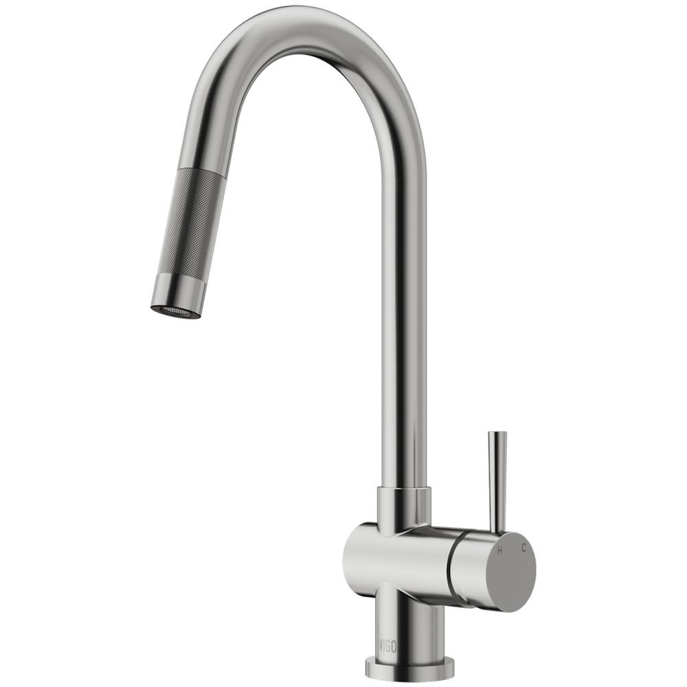 Vigo Gramercy Single Handle Pull Down Sprayer Kitchen Faucet In Stainless Steel