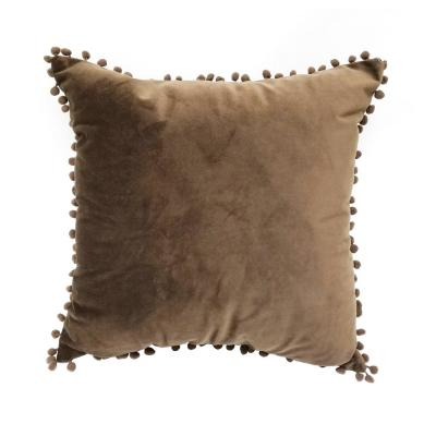 Pompom Dark Chocolate Solid Polyester 18 in. x 18 in. Throw Pillow