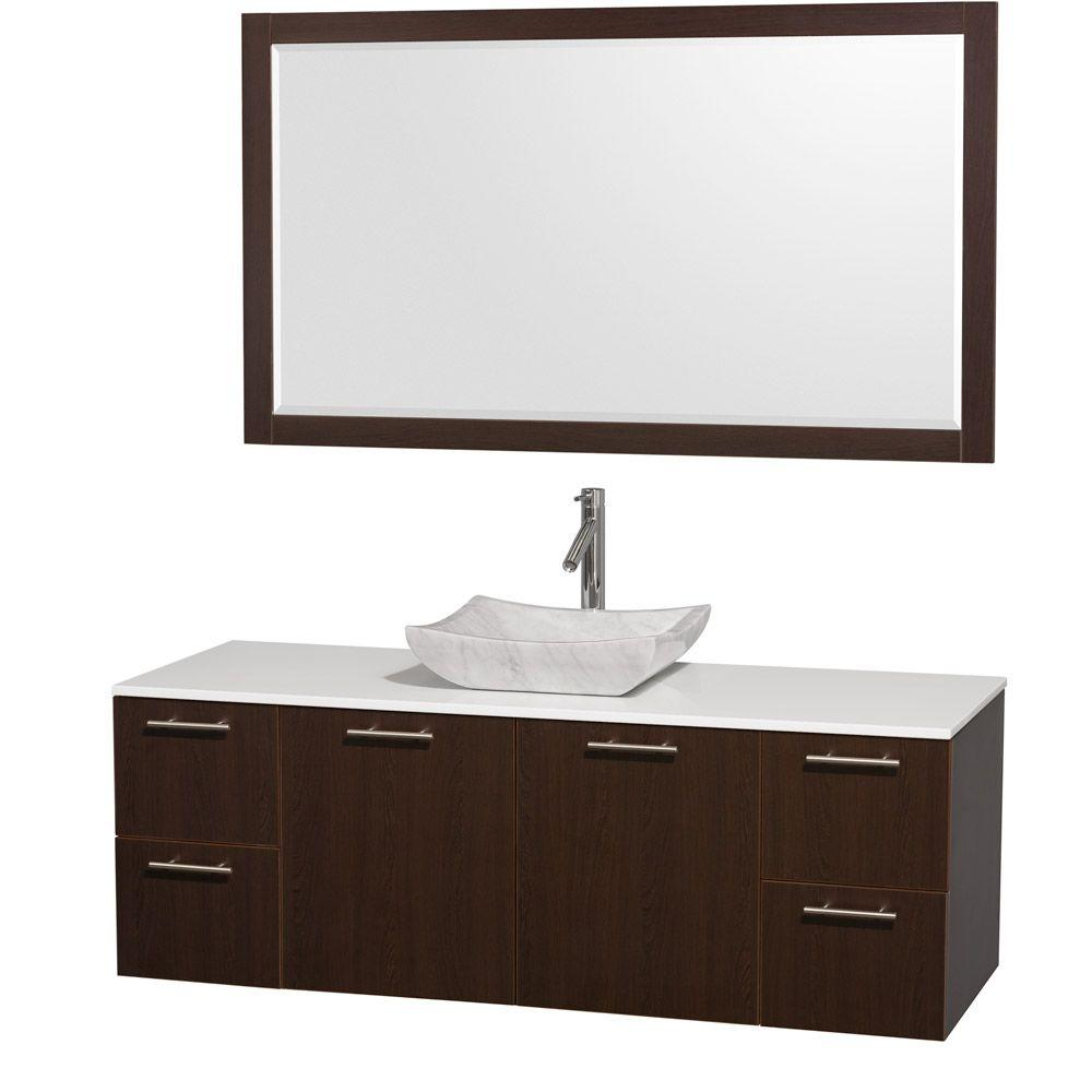 Wyndham Collection Amare 60 in. Vanity in Espresso with Man-Made ...
