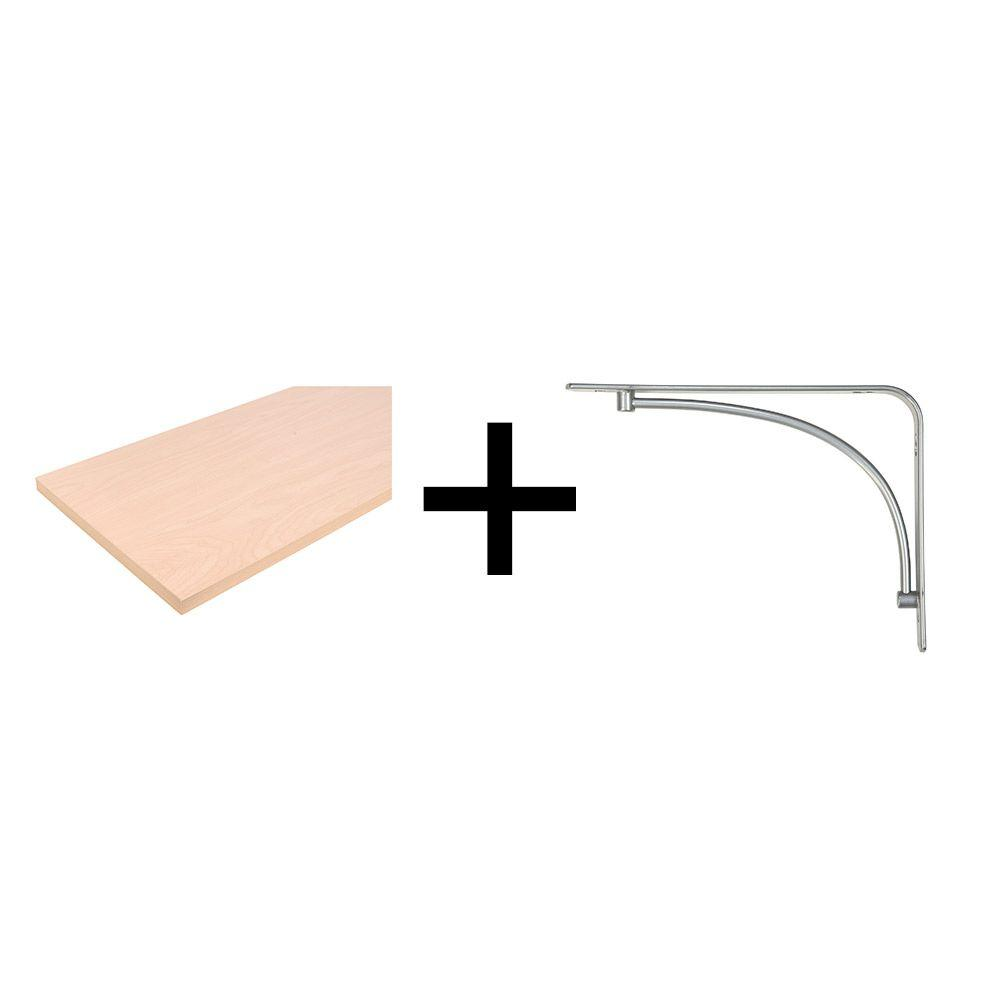 10 in. x 48 in. Beechwood Laminated Wood Shelf with Satin