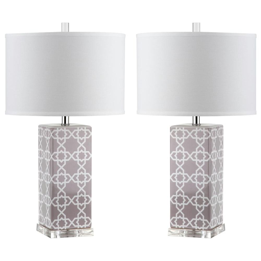 Safavieh gray table lamps lamps the home depot grey table lamp set of 2 geotapseo Gallery