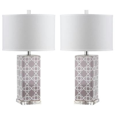 Quatrefoil 27 in. Grey Table Lamp with White Shade (Set of 2)