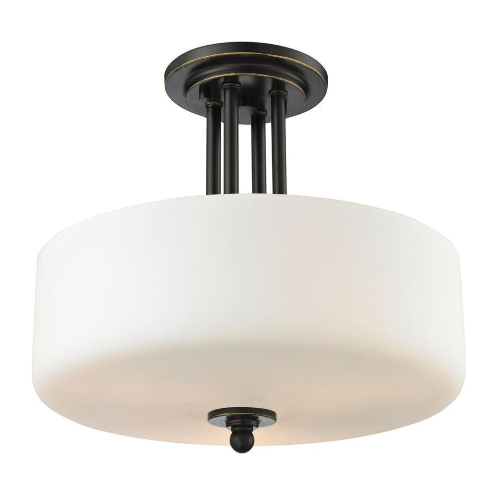 Filament Design Tetra 3-Light Olde Bronze Semi-Flush Mount Light