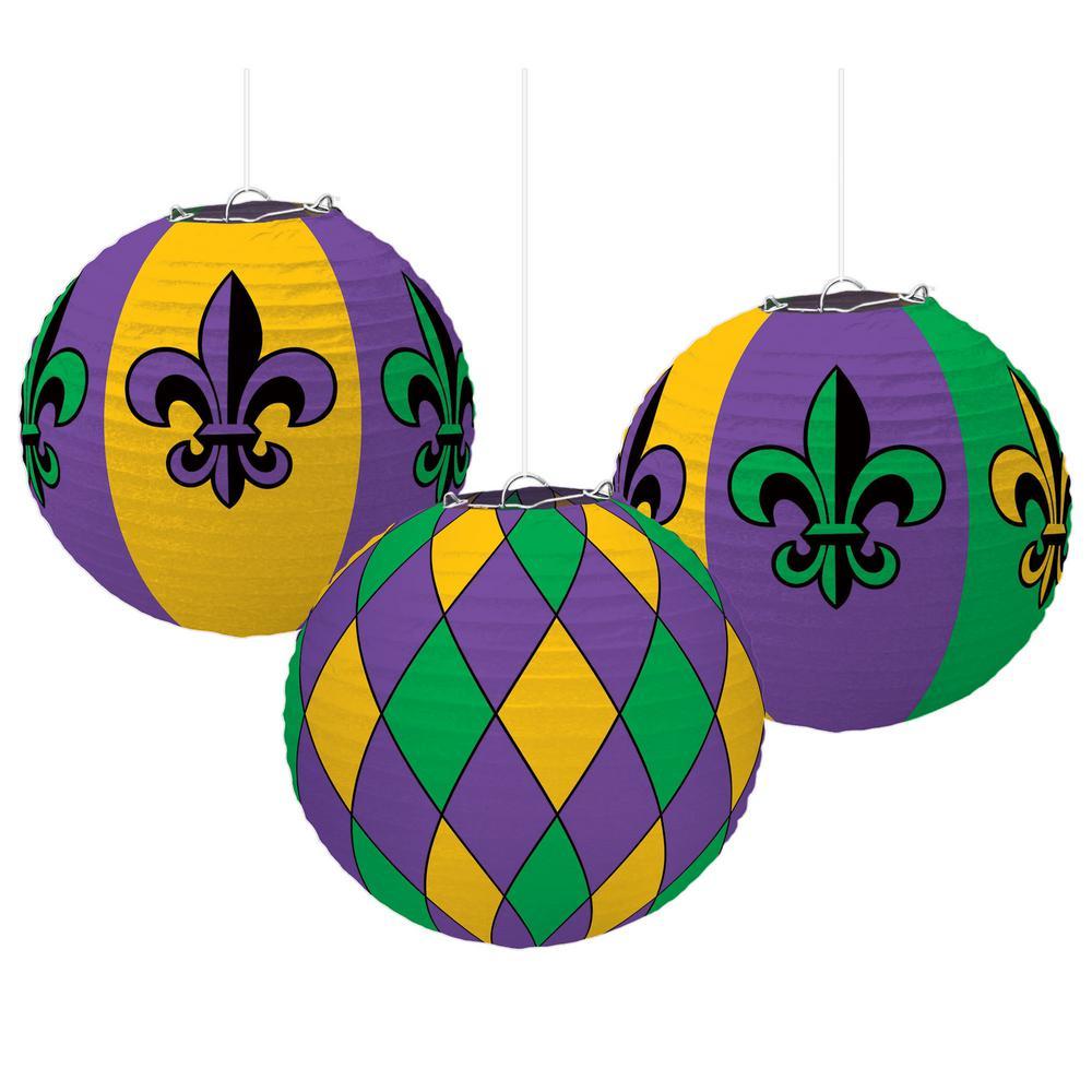 9.5 in. Mardi Gras Green, Purple and Gold Paper Fleur de Lis Lantern Decorations (3-Count, 2-Pack)