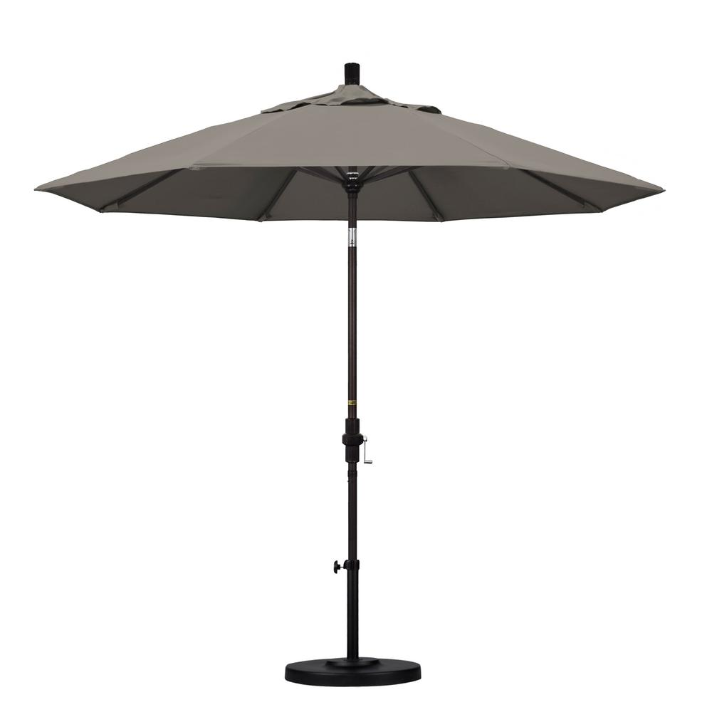 9 ft. Aluminum Collar Tilt Patio Umbrella in Taupe Pacifica