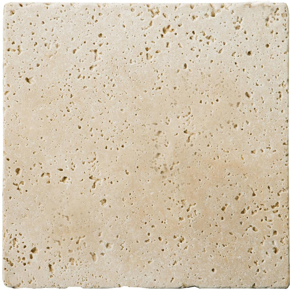 Emser Trav Fontane Tumbled Ivory Classic 3.94 in. x 3.94 in. Travertine Wall Tile