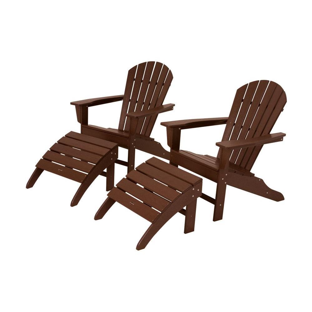 South Beach Mahogany Plastic Patio Adirondack Chair (2-Pack)