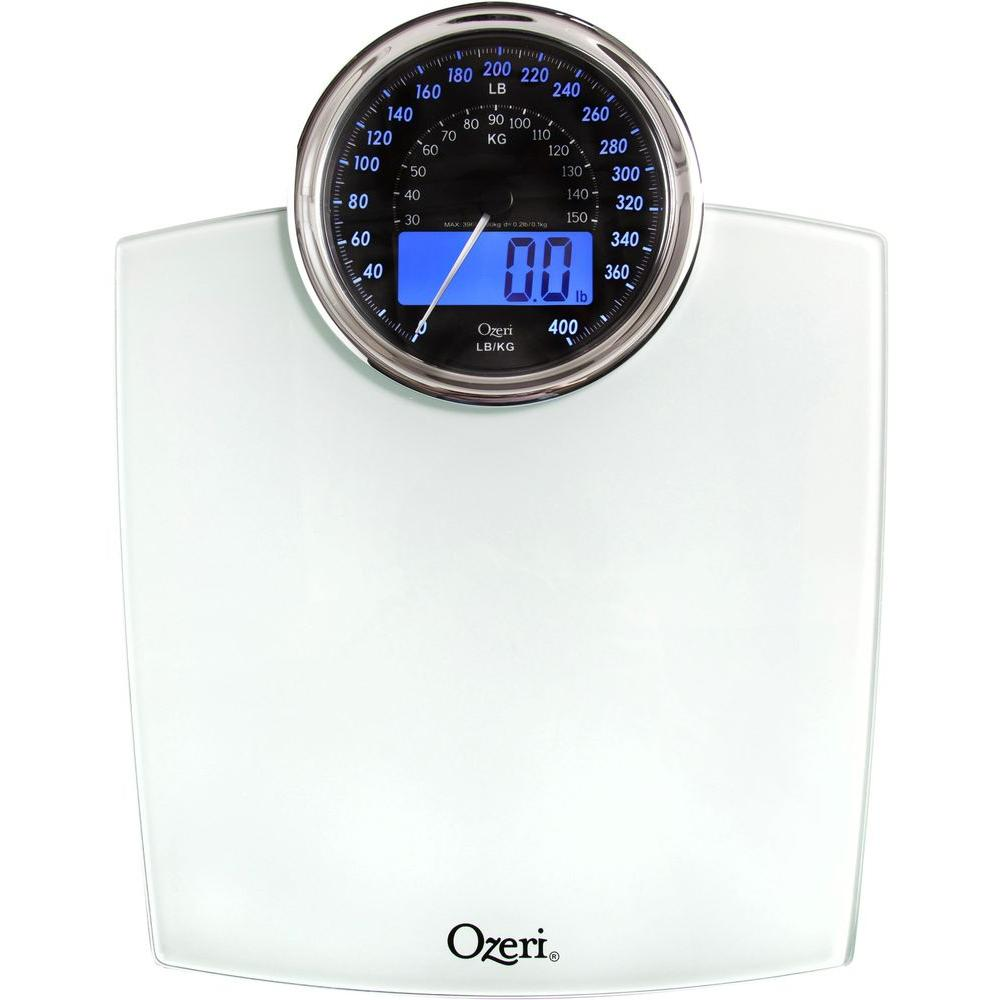 Ozeri Rev Digital Bathroom Scale With Electro Mechanical Weight Dial ZB19 W