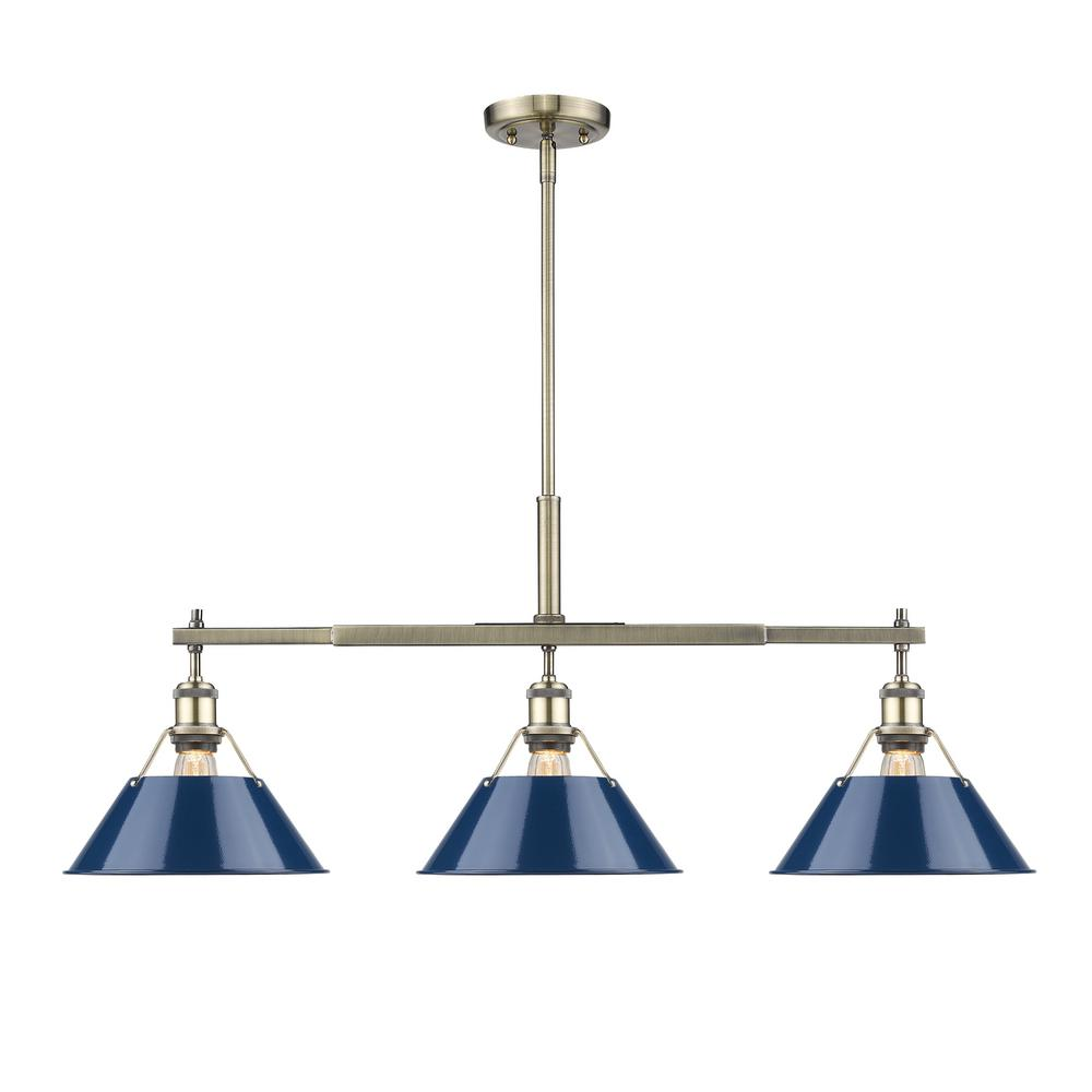 Golden Lighting Orwell AB 3-Light Aged Brass Pendant With