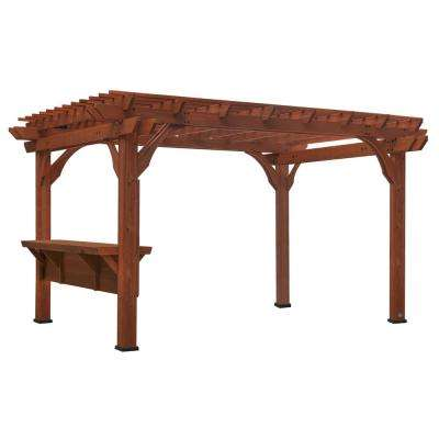 Ashland 10 ft. x 14 ft. Cedar Pergola with Bar and Electric