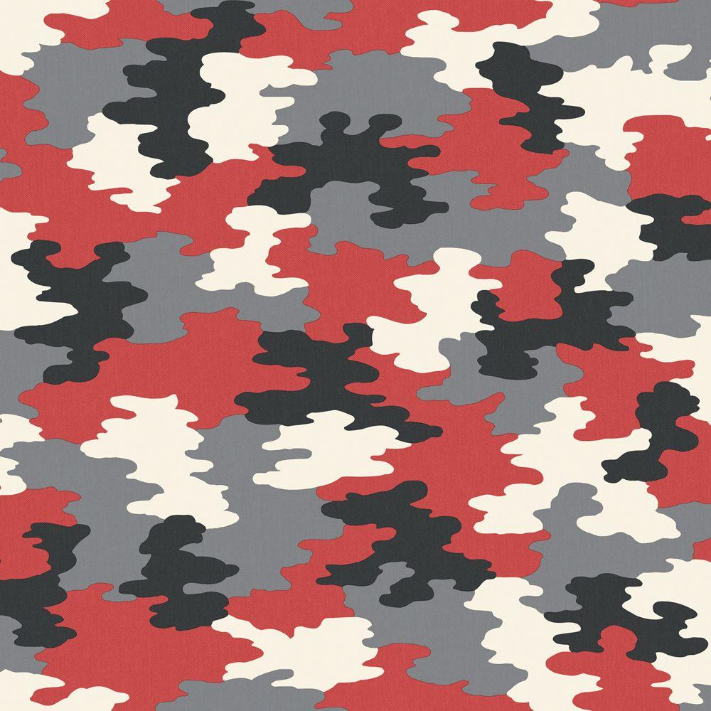 The Wallpaper Company 8 in. x 10 in. Red Camouflage Wallpaper Sample