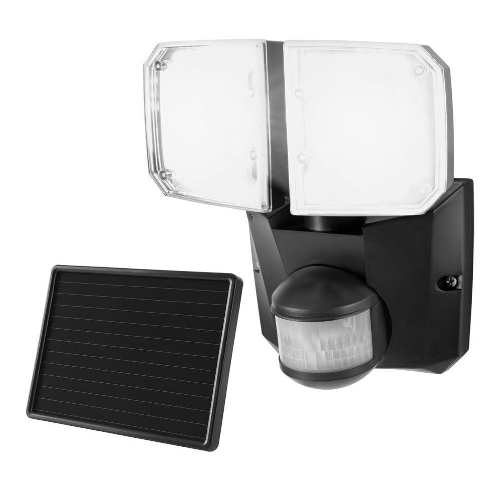 Defiant 180 Degree Black Outdoor Motion Twin Solar Security Flood/Spot Light