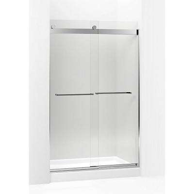 Levity 59.625 in. W x 74 in. H Frameless Sliding Shower Door in Bright Polished Silver