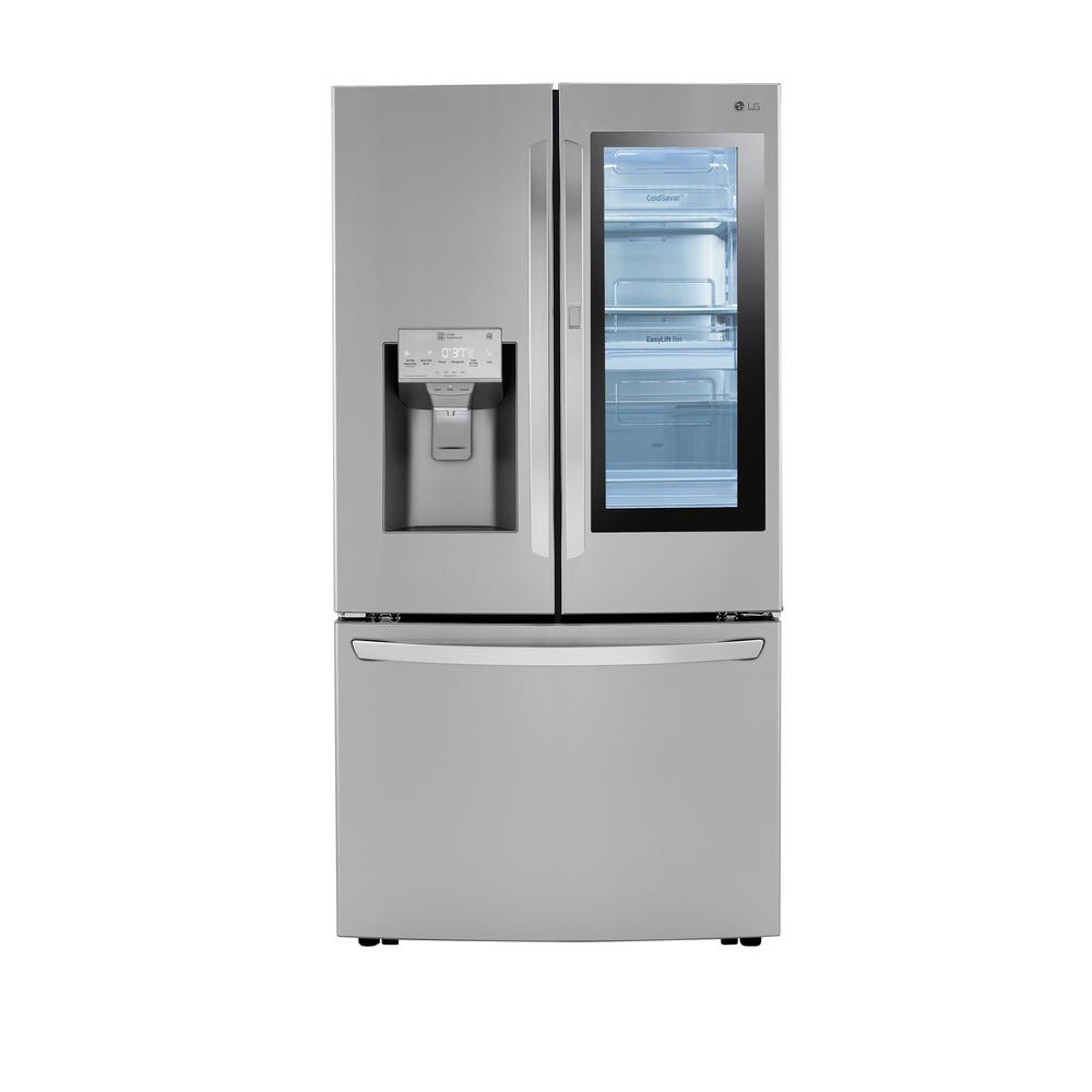LGElectronics LG Electronics 24 cu. ft. 3-Door French Door Refrigerator with Craft Ice in Print Proof Stainless Steel, Counter Depth, Silver