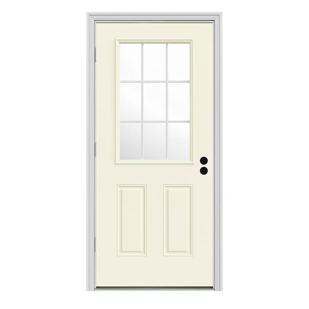 Jeld wen 36 in x 80 in 9 lite vanilla painted steel prehung right hand outswing front door w 36 x 80 outswing exterior door
