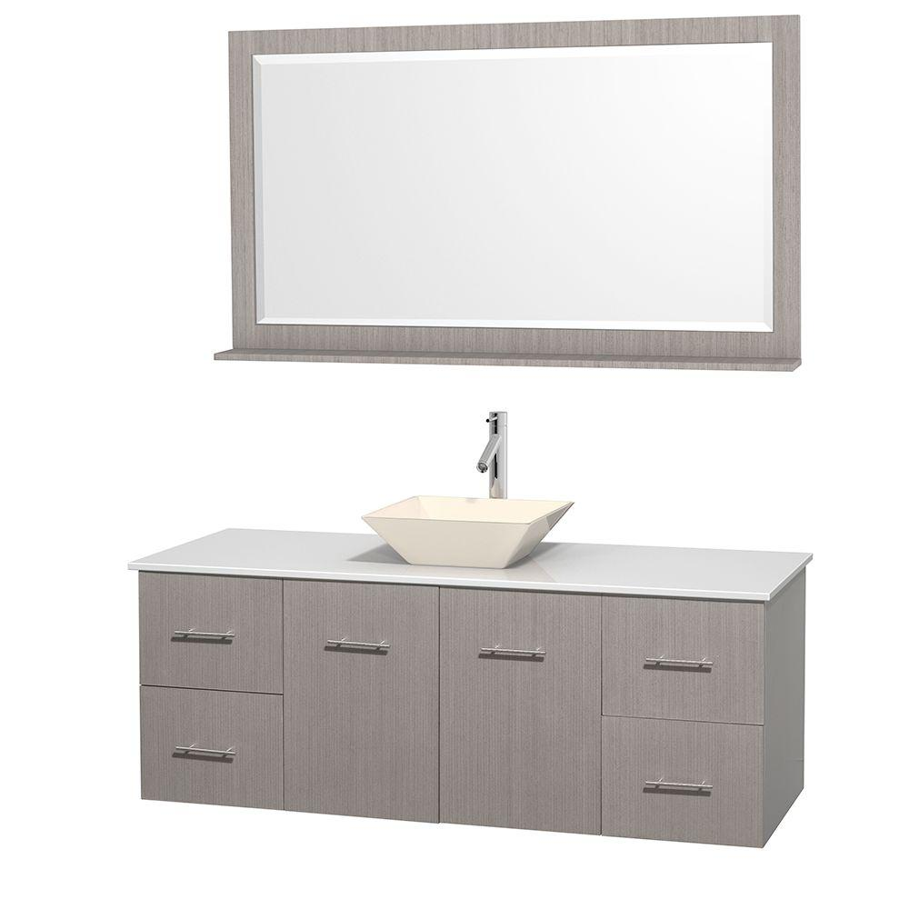 Wyndham Collection Centra 60 in. Vanity in Gray Oak with Solid-Surface Vanity Top in White, Bone Porcelain Sink and 58 in. Mirror